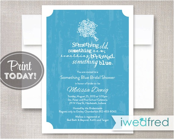 something blue printable bridal shower