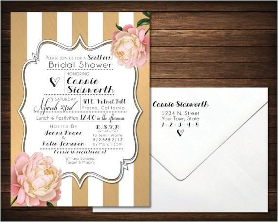 southern bridal shower invitations black