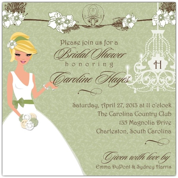 southern magnolia romance bridal shower invitations p 606 55 bs109
