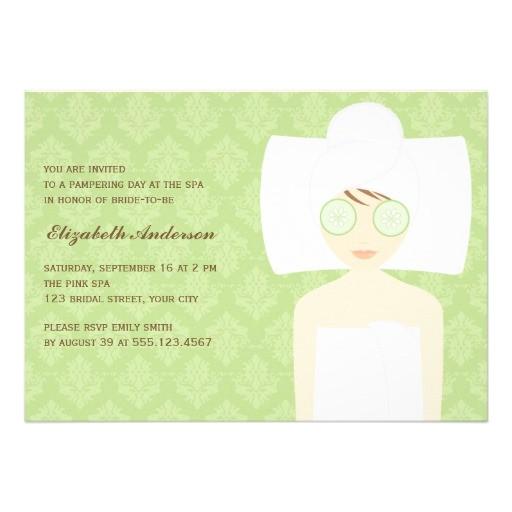 green damask pattern spa bridal shower invitation 161725663759724926