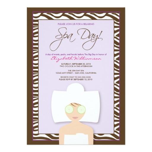 spa day bridal shower invitation lavender 161428397615009582