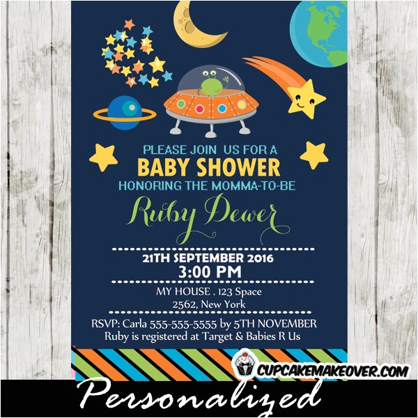 Space themed Baby Shower Invitations Outer Space themed Baby Shower Invitation Personalized