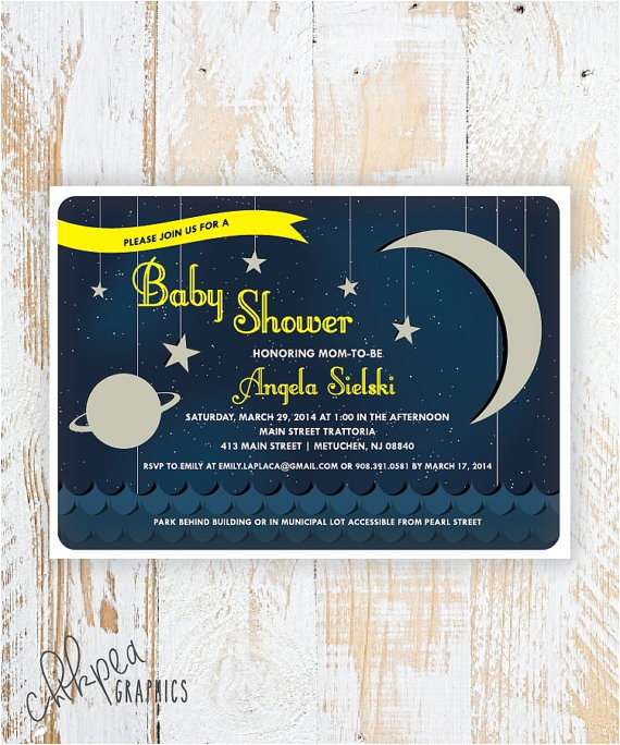 over the moon space themed baby shower