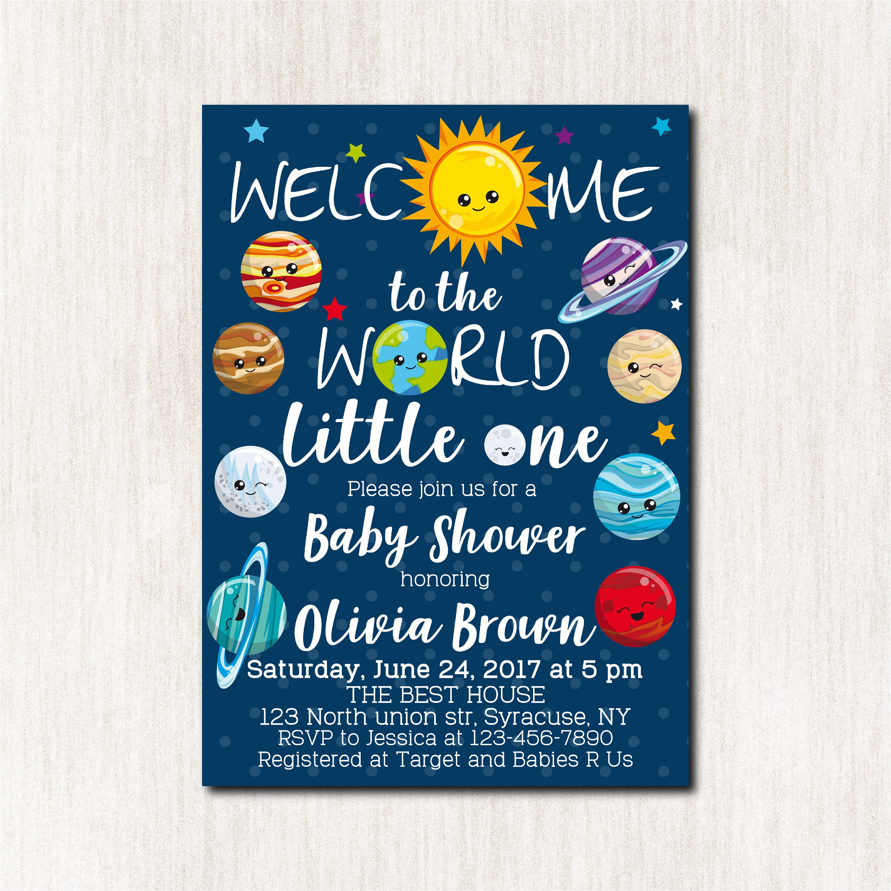 space theme baby shower invitations