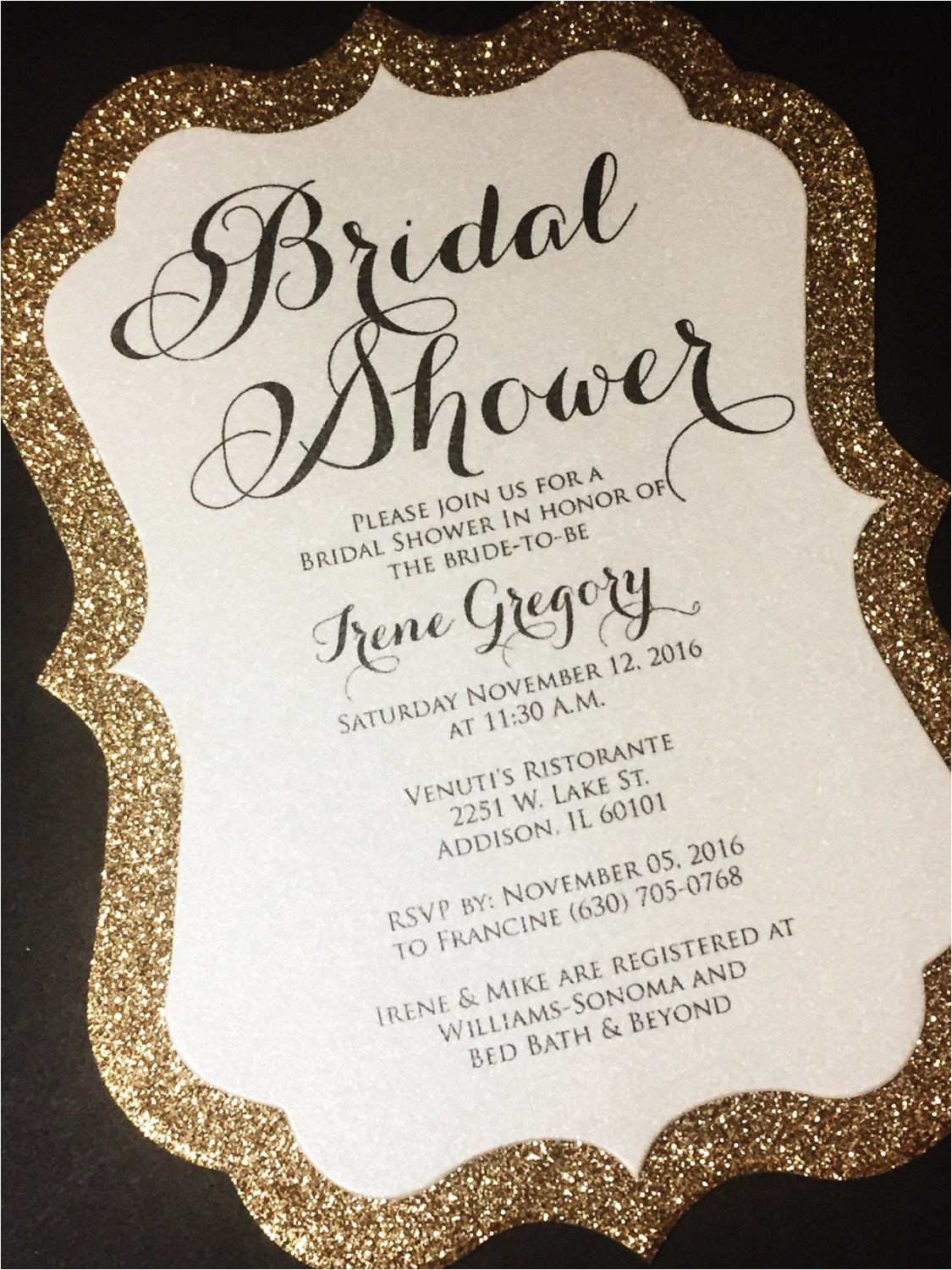 bridal shower invitation 25 glitter