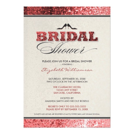 glitter bling bridal shower invitation red