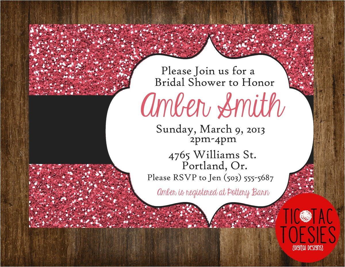 glitter invitation bridal shower