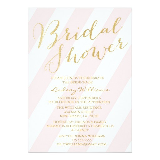 gold glitter bridal shower invitations