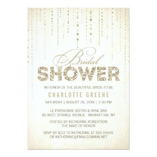 gold glitter look bridal shower invitation