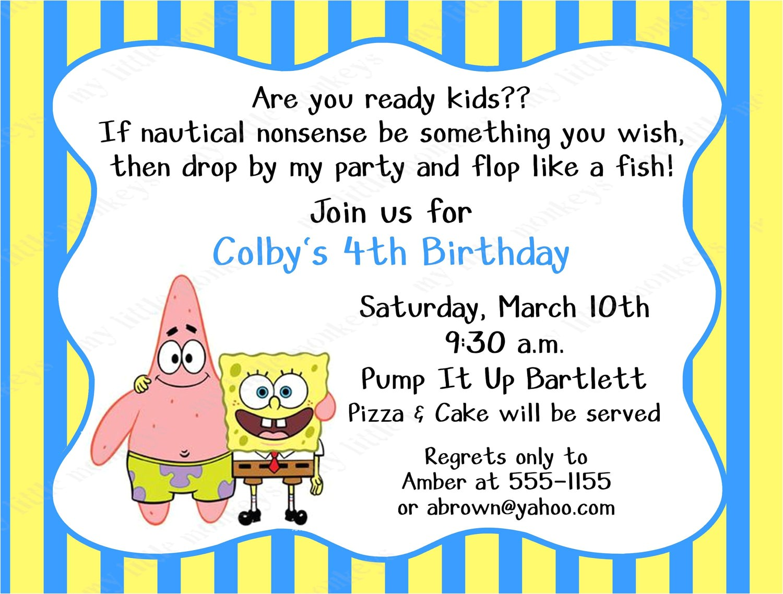birthday invitation template spongebob