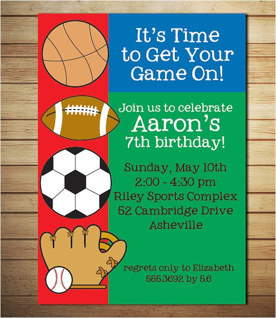 free printable sports birthday invitations