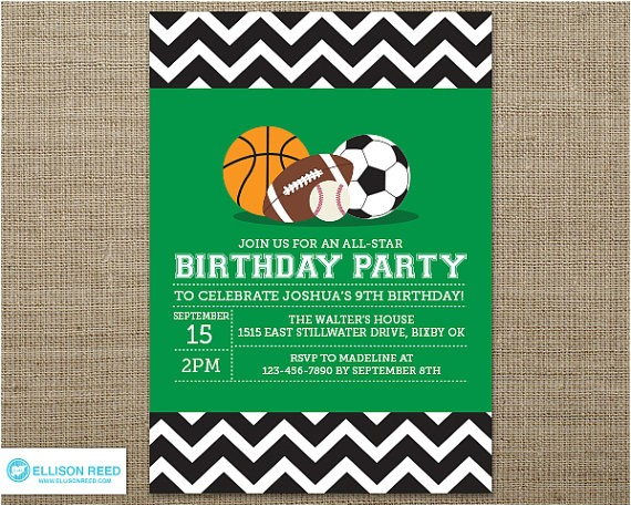 sports invitation sports birthday sports printable