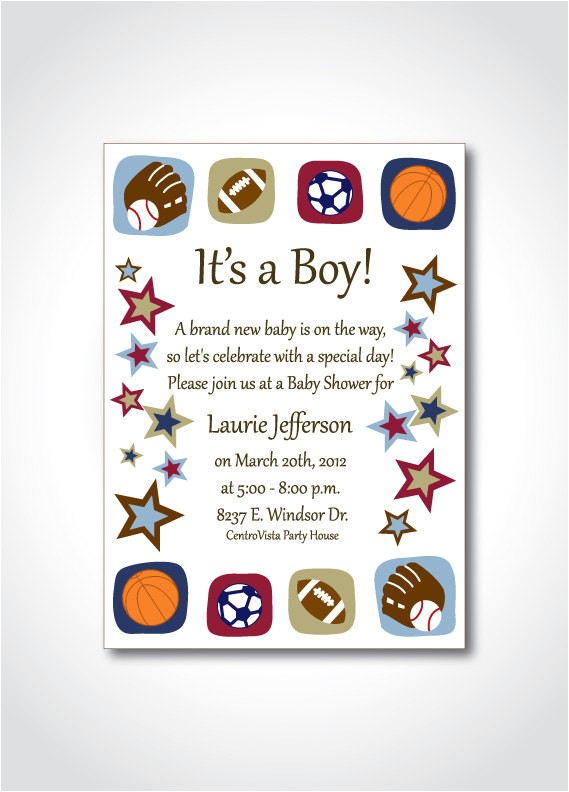 sports theme baby shower printable