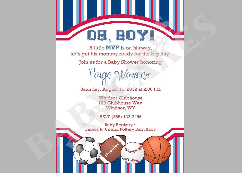 sports theme baby shower invitation diy