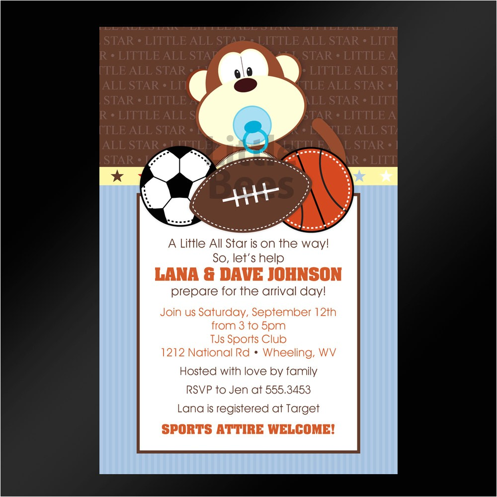 sports themed baby shower invitations