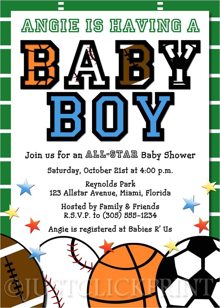 all star sports baby boy shower invitation printable