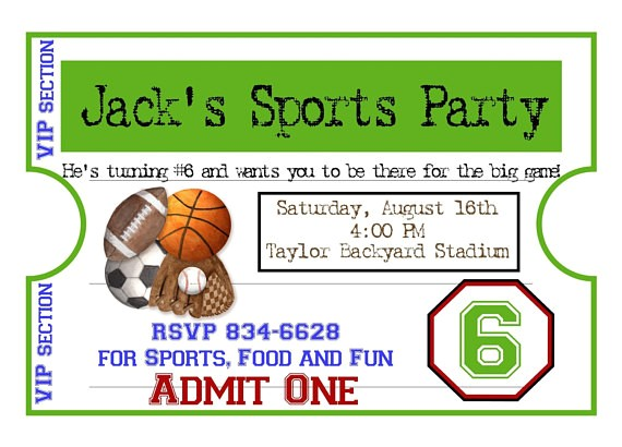 personalized sports invitations football