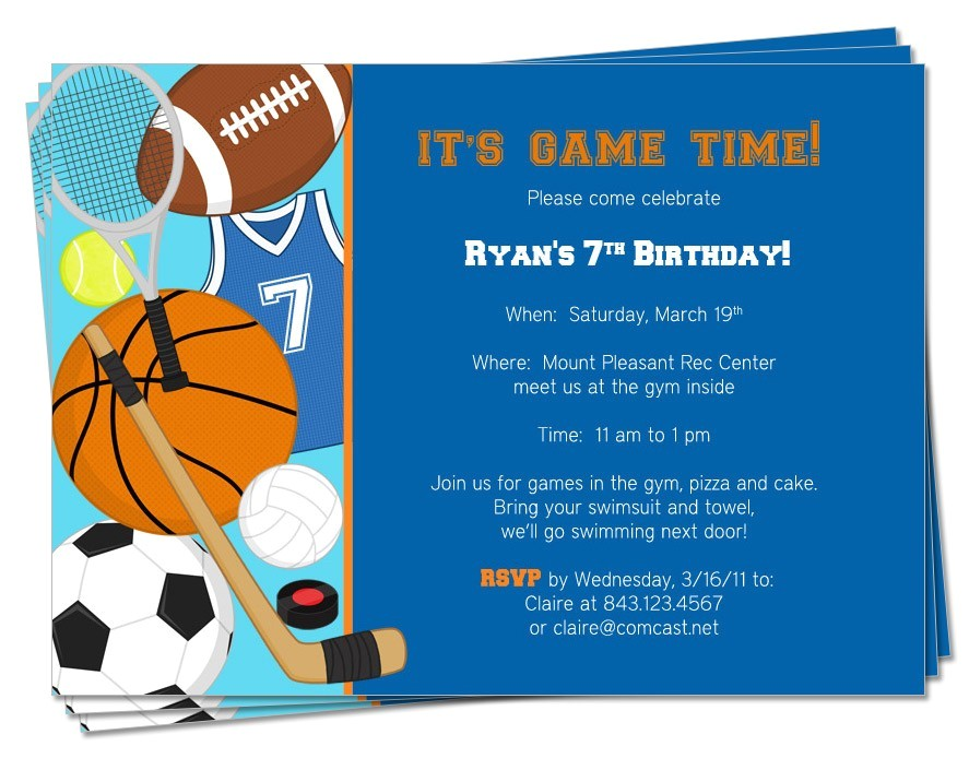 Sports themed Birthday Invitation Wording Printable Birthday Sports theme Invitation by