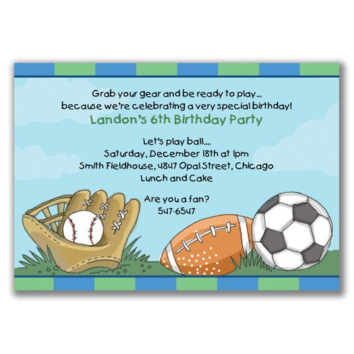 sports birthday invitations