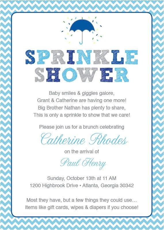 Sprinkle Baby Shower Invitation Wording Blue Baby Sprinkle Shower Invitation Blue Grey Girl