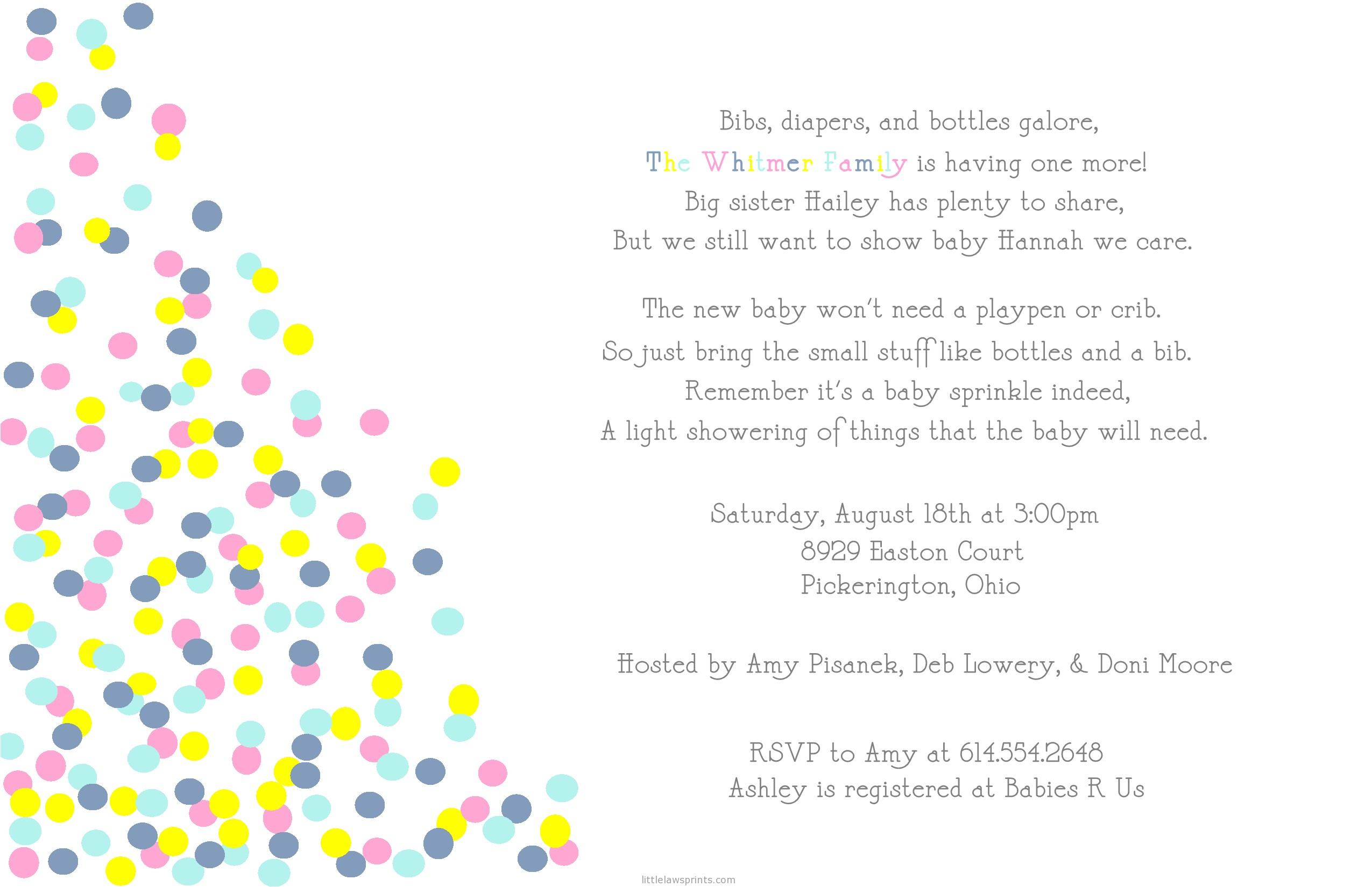Sprinkle Baby Shower Invitation Wording Sprinkle Baby Shower Invitations Template