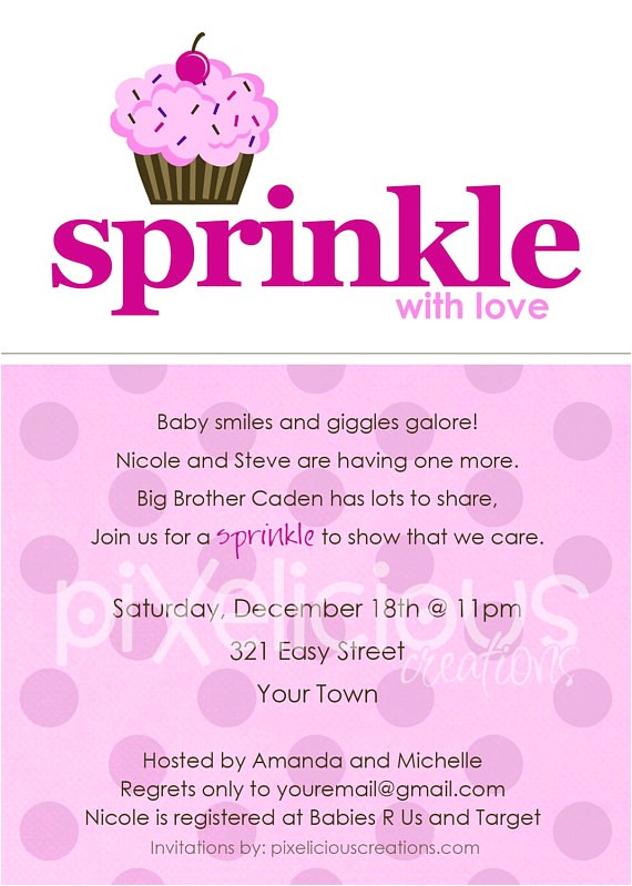 sprinkle custom baby shower invitation
