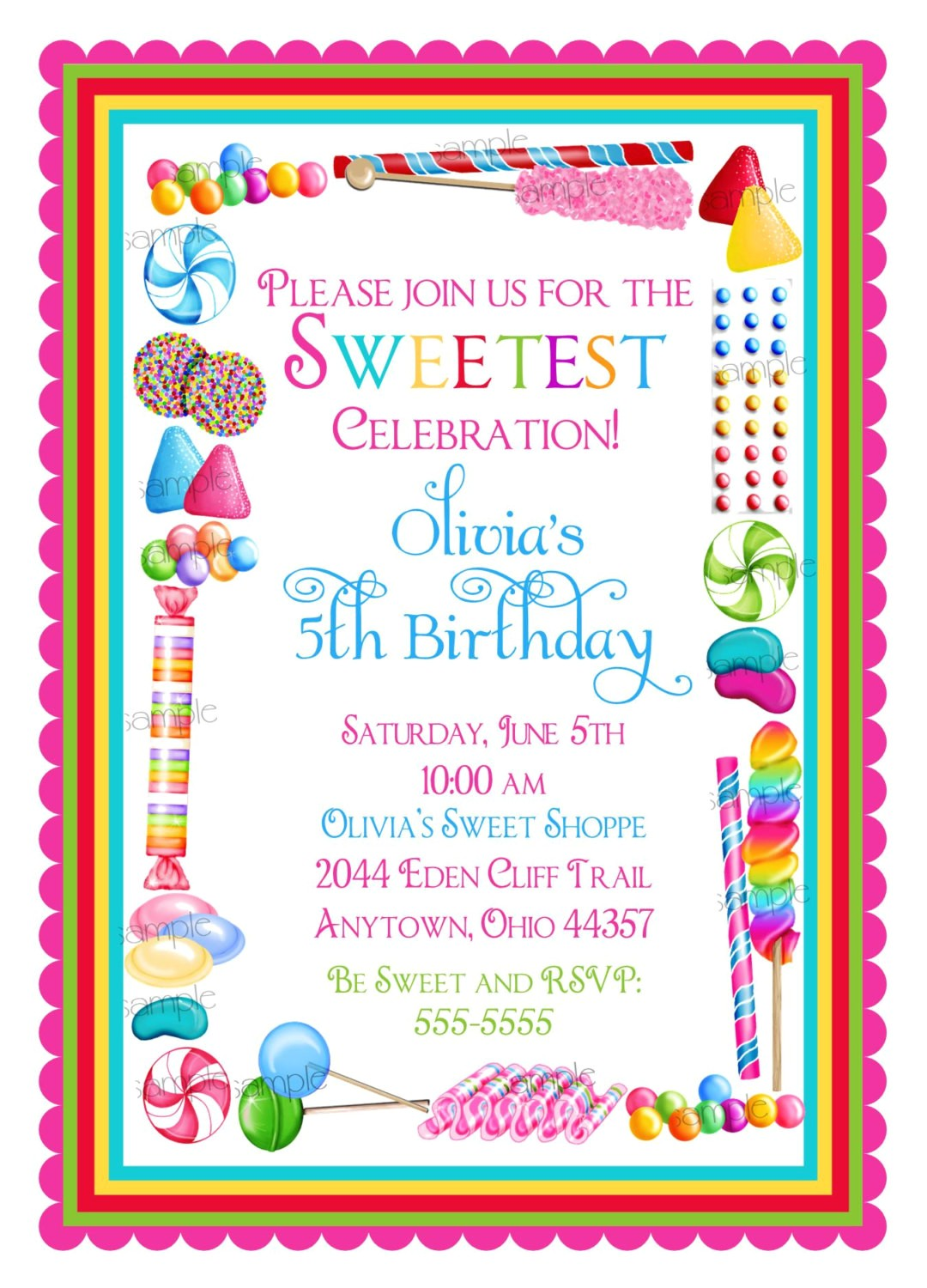 candy birthday invitations candy