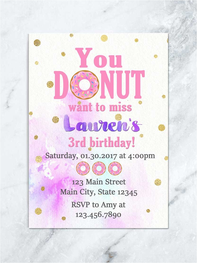 donut and pajama party donut birthday invitation donut sleepover birthday invitation sprinkle donut birthday invitation digital file