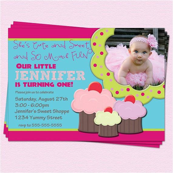 first 1st birthday invitation cupcake girl