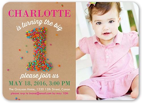 sprinkle first girl birthday invitation 5x7 flat