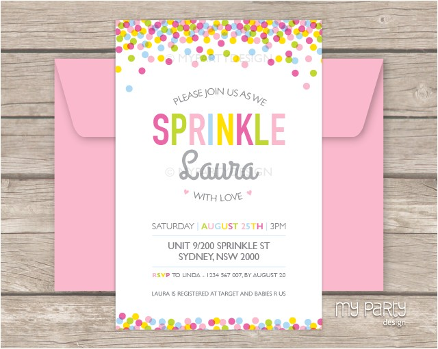 baby sprinkle party printable baby shower invitation