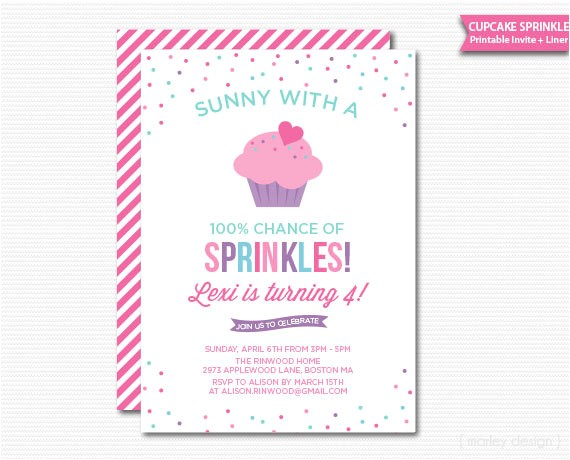 cupcake sprinkle birthday invitation printable digital