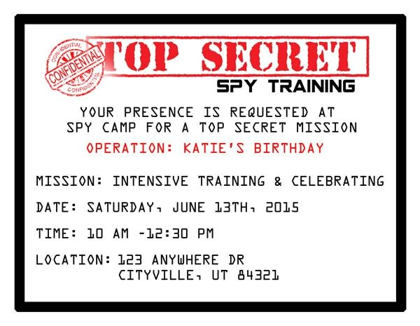 Spy Birthday Party Invitation Template Free Printable Spy Party Invitations the O 39 Jays Birthdays
