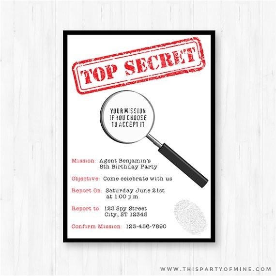 secret agent spy invitation birthday party