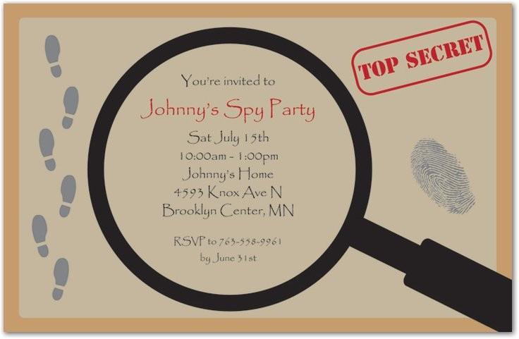 spy party invitation templates