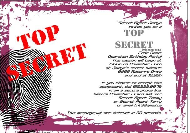 top secret party invitations