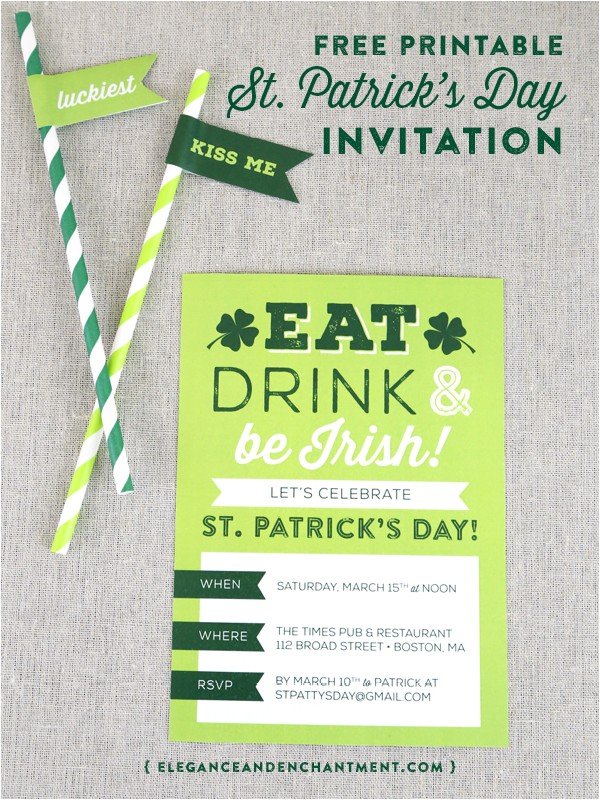 printable st patricks day party invitation