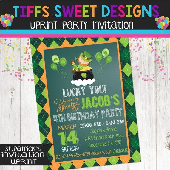 st patricks day invitation birthday