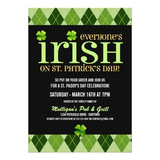 argyle st patricks day party invitations
