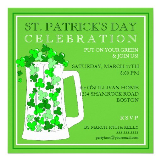 st patricks day celebration party invitation