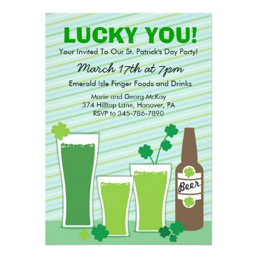 st patricks day celebration party invitations