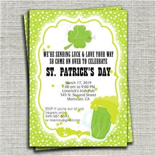 st patricks day birthday invitation st