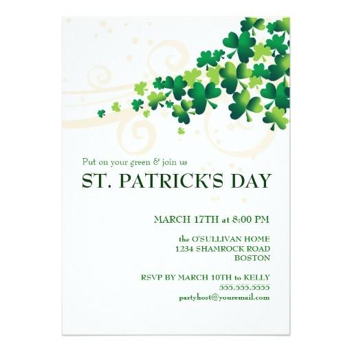 st patricks day irish shamrock party invitation