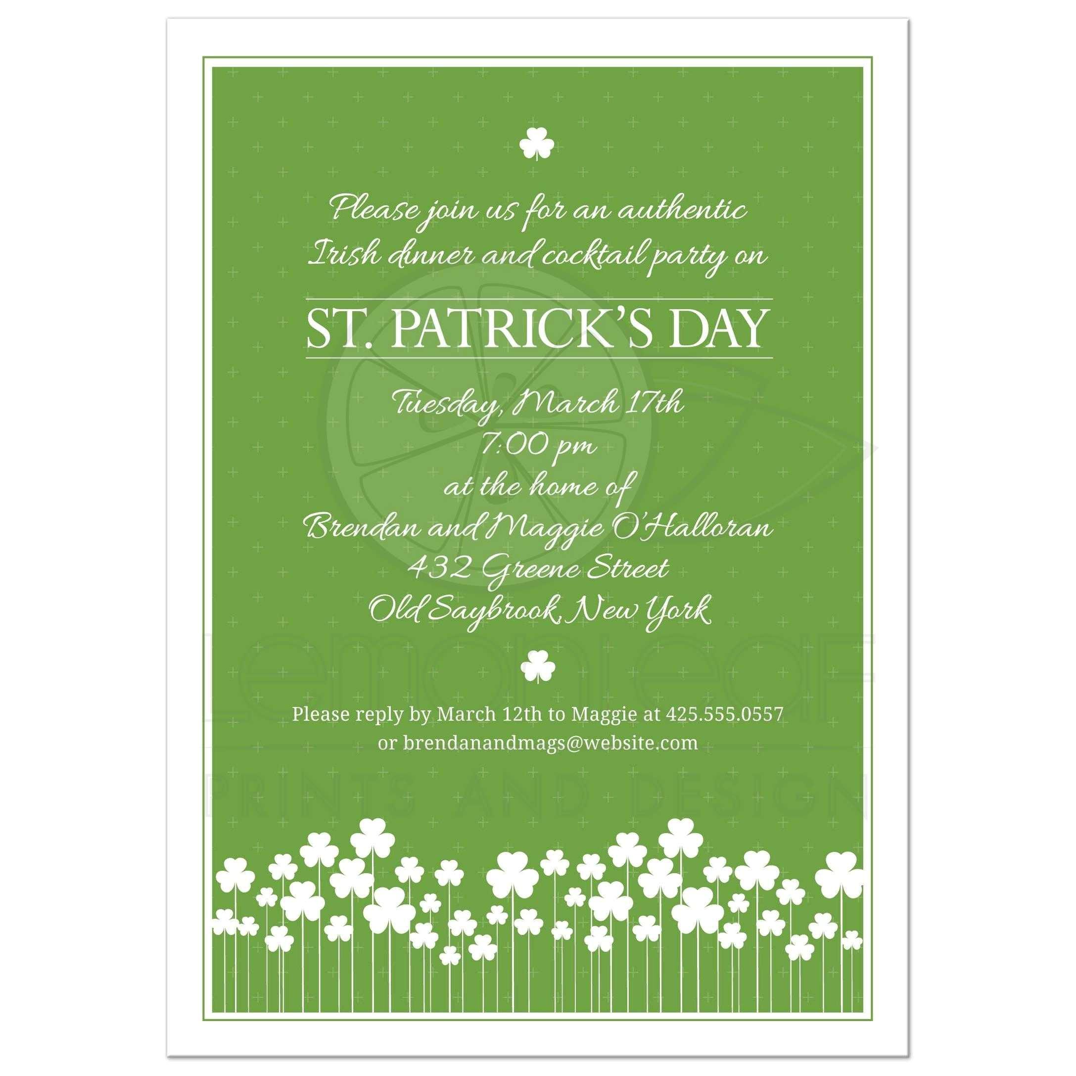 st patricks day party invitation shamrock garden