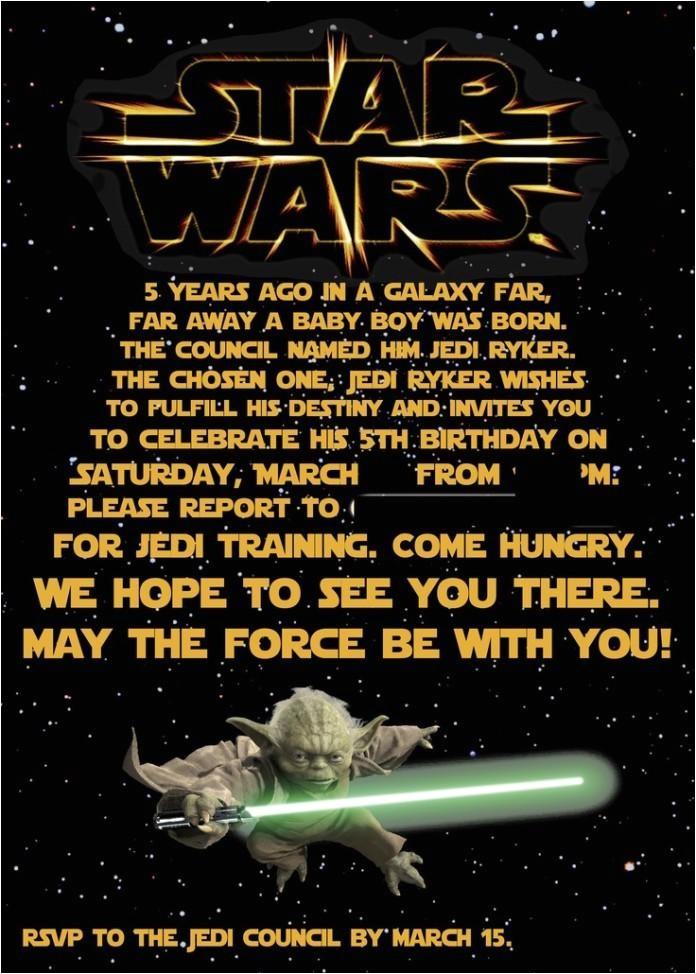 star wars birthday invitations