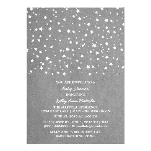 gray starry night baby shower invite