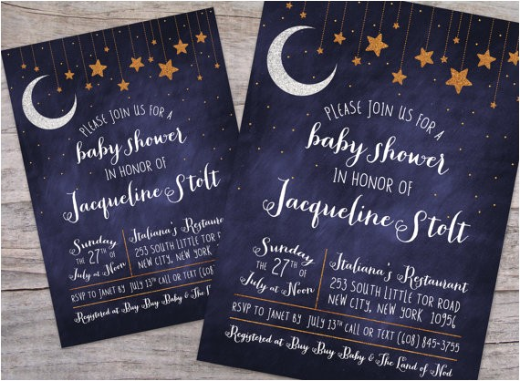 over the moon starry night baby shower