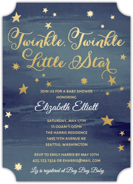 Starry Night Baby Shower Invitations Starry Night Baby Shower Invitation