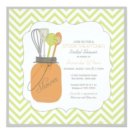 stock the kitchen bridal shower lime chevron invitation