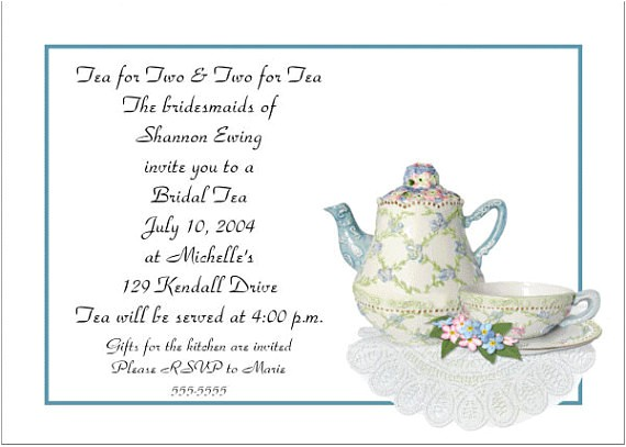 bridal shower high tea invitation wording